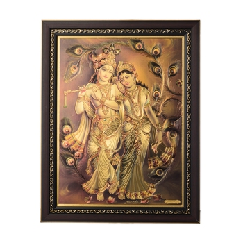 Radha Krishna Laminated Golden Foil