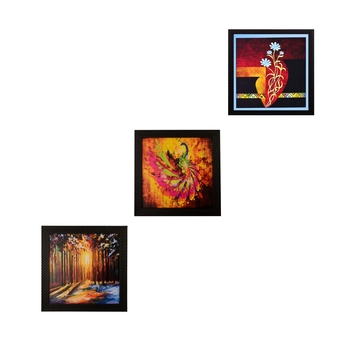 Set Of 3 Abstract Designs Satin Matt Texture UV Art Painting