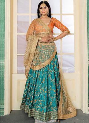 Attractive Green Silk Embroidered Circular Lehenga Choli