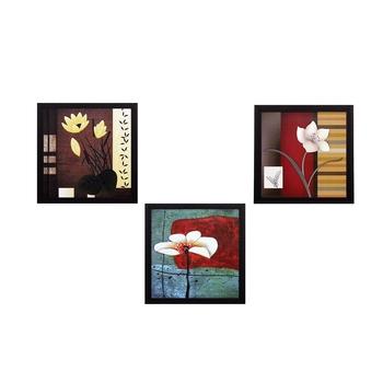 Set Of 3 Decorative Botanical Floral Pot Satin Matt Texture UV Art Painting