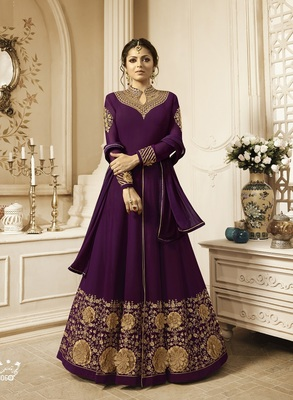 Purple Embroidered Georgette Salwar With Dupatta