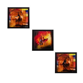 Set Of 3 Dancing Figures Satin Matt Texture UV Art Painting