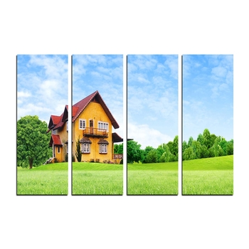 4 Panel Beautiful Hut Shape House Premium Canvas Painting
