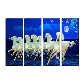4 Panel Lucky 7 Running Horses Premium Canvas Painting
