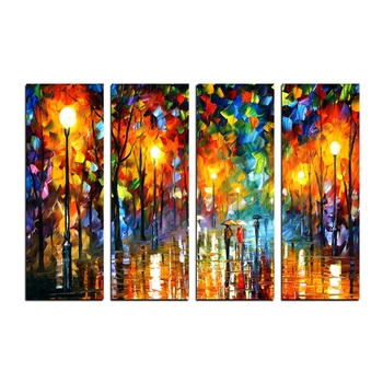 4 Panel Loving Couple under Rain Premium Canvas Painting