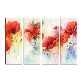 4 Panel Decorative Flowers Premium Canvas Painting