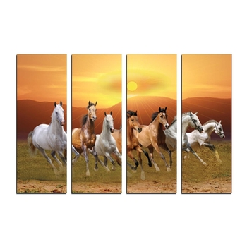 4 Panel Lucky 7 Running Horses Premium Canvas Painting