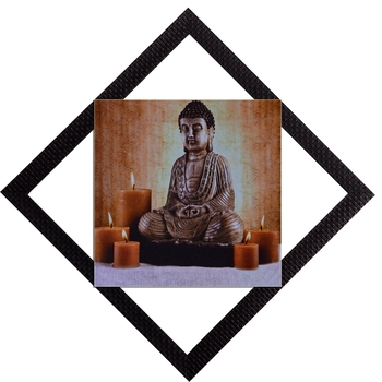 Lord Buddha With Candles Satin Matt Texture UV Art Painting