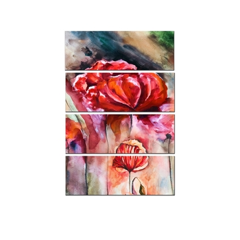 4 Panel Beautiful Red Rose Premium Canvas Painting