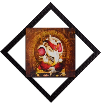Lord Ganesha With Chowki Satin Matt Texture UV Art Painting