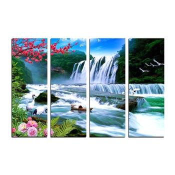 4 Panel Waterfall Scenic View Premium Canvas Painting