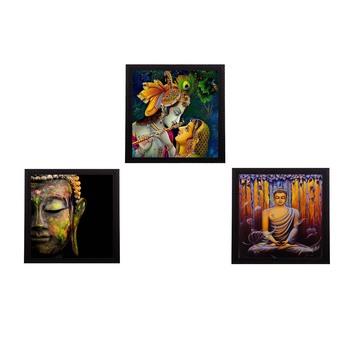 Set Of 3 Radha Krishna and Lord Buddha Paper Painting