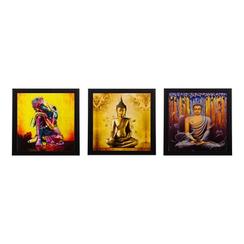 Set Of 3 Lord Buddha Paper Painting