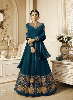 Turquoise Embroidered Georgette Salwar With Dupatta