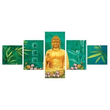 Set Of 5 Lord Buddha Premium Canvas Painting