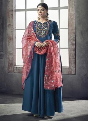 Teal embroidered silk salwar
