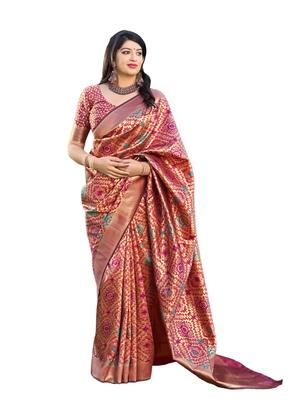 Dark pink woven banarasi silk saree with blouse