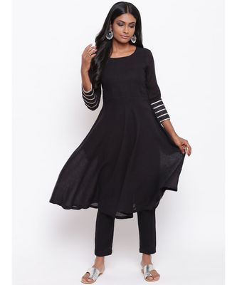 Black Gota Sleeve Kurta Set