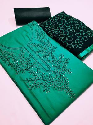 Green Embroidered Satin Unstitched Salwar With Dupatta