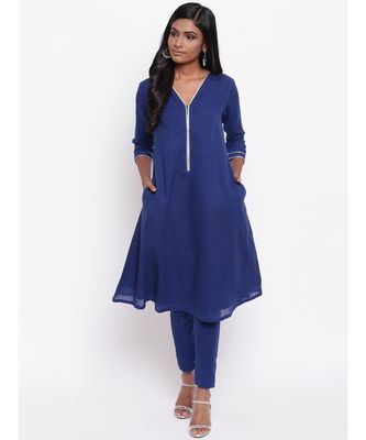 Blue Gota Neck Kurta Set