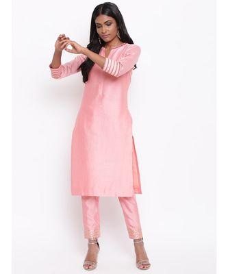 Pink Collared Kurta Set
