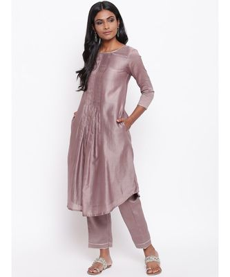 Brown Gota Pleats Kurta