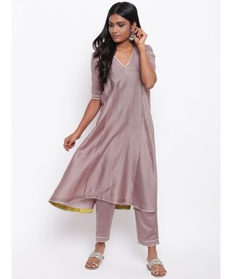 Brown Gota Flared Kurta