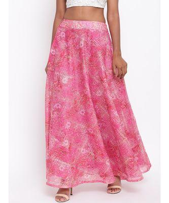 Pink Foil Organza Skirt