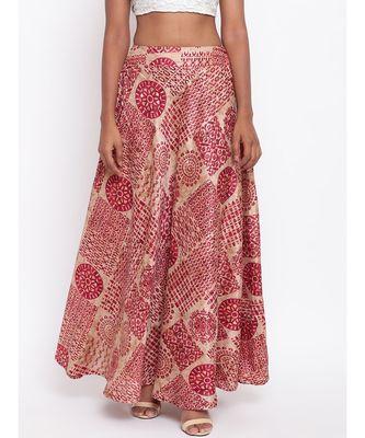 Maroon Foil Silk Skirt