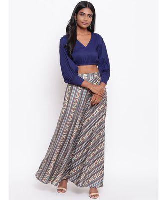 Blue Striped Skirt-Set