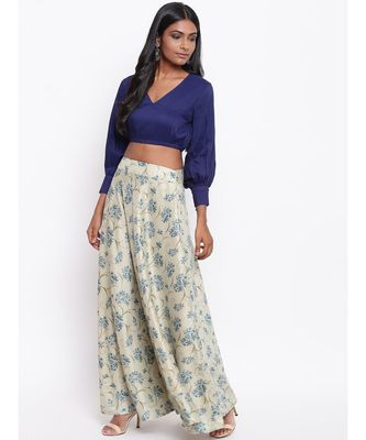 Blue Floral Skirt-Set