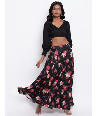 Black Pink Floral Skirt-Set