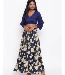 Blue Yellow Floral Skirt-Set