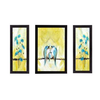 Set of 3 Flying Birds Satin Matt Texture UV Art Painting