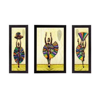 Set Of 3 Dancing Lady Matt Textured UV Art Painting