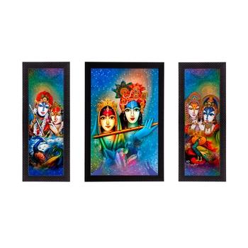Set Of 3 Abstract Radha Krishna Satin Matt Texture UV Art Painting