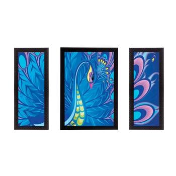 Set Of 3 Colorful Peocock Satin Matt Texture UV Art Painting