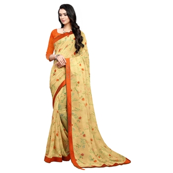 Apricot printed georgette saree with blouse