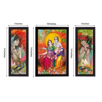 Set Of 3 Radha Krishna Satin Matt Texture UV Art Painting