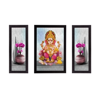 Set of 3 Lord Ganesha Satin Matt Texture UV Art Painting