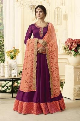 Purple Embroidered Satin Salwar With Dupatta