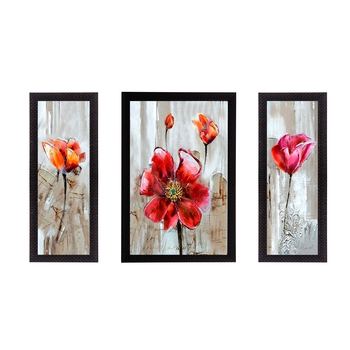 Set of 3 Floral Theme Satin Matt Texture UV Art Painting