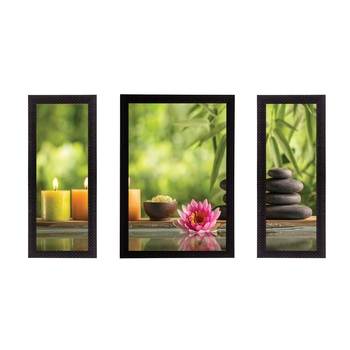 Set of 3 Floral Theme Satin Matt Texture UV Art Painting