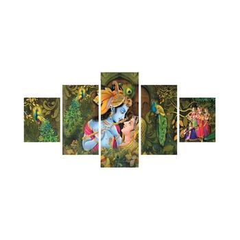 Set of 5 Radha Krishna Premium Canvas Painting