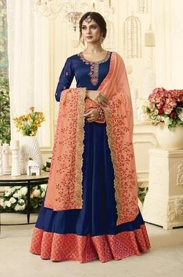 Blue Embroidered Satin Salwar With Dupatta
