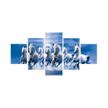 Set of 5 Running Lucky Horses Design Premium Canvas Painting