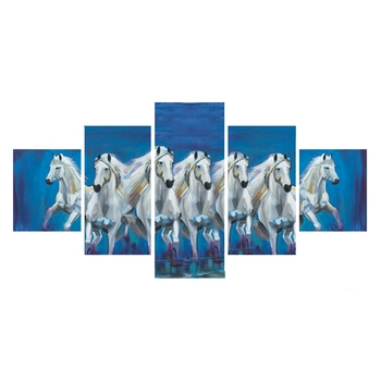 Set of 5 Running Lucky Horses Design Premium Canvas Painting