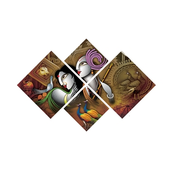 Set of 4 Radha Krishna Premium Canvas Painting