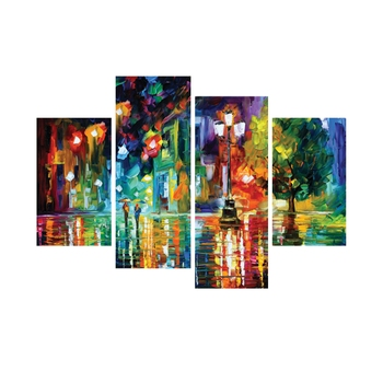 Set of 4 Beauty Under Rain Premium Canvas Painting
