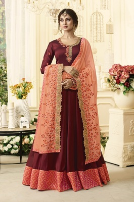 Red Embroidered Satin Salwar With Dupatta